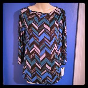 Nwt Dana Buchman cowl neck blouse 3/4 sleeve